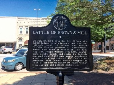 Battle of Brown's Mill historical marker. image. Click for full size.
