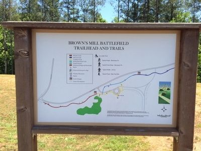 Battlefield Trailhead sign and Trail map. image. Click for full size.