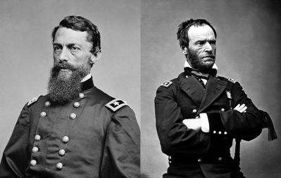 George Stoneman, Jr. (left) & General William Tecumseh Sherman. image. Click for full size.