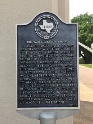 The Waco Suspension Bridge Marker image. Click for full size.
