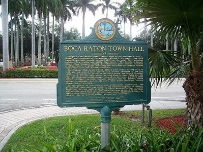 Boca Raton Town Hall Marker image. Click for full size.