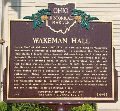 Wakeman Hall / Waterville Historical Society Marker image. Click for full size.