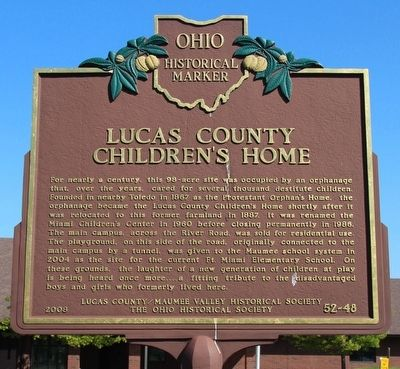 Lucas County Children's Home Marker image. Click for full size.