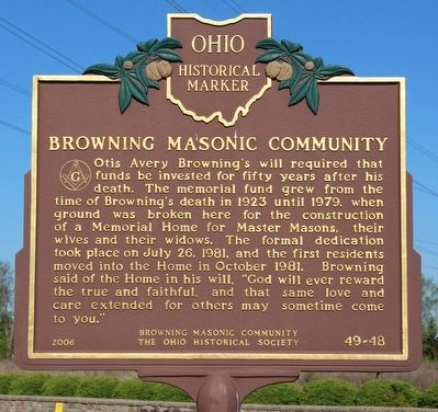 Browning Masonic Community Marker image. Click for full size.