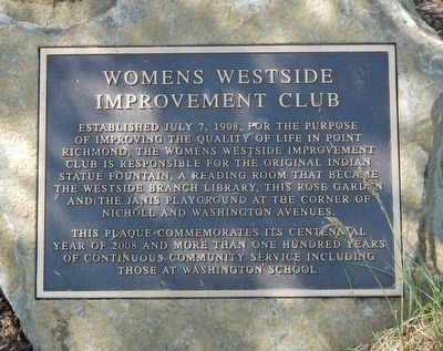 Women's Westside Improvement Club Marker image. Click for full size.