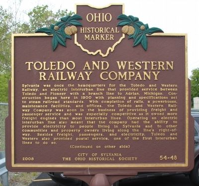 Toledo and Western Railway Company Marker image. Click for full size.