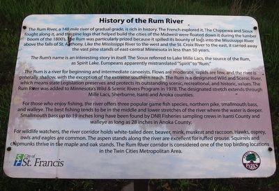 History of the Rum River Marker image. Click for full size.
