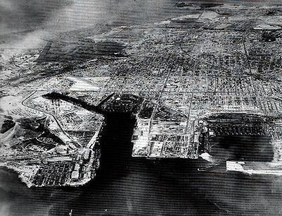 Kaiser Shipyard #3, on the bottom left, and Richmond in 1944 image. Click for full size.