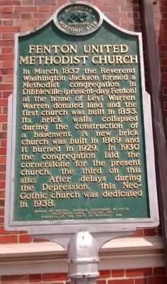Fenton United Methodist Church Marker image. Click for full size.