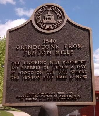 1840 Grindstone from Fenton Mills Marker image. Click for full size.