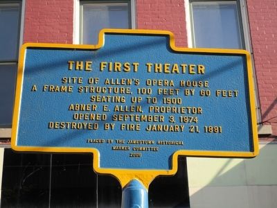 The First Theater Marker image. Click for full size.