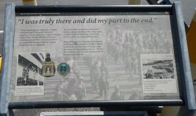 "<i>""I was truly there and did my part to the end.""</i> -- Addie Mae Cance, Former shipyard worker Marker image. Click for full size."
