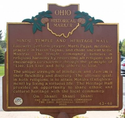 Hindu Temple and Heritage Hall Marker image. Click for full size.