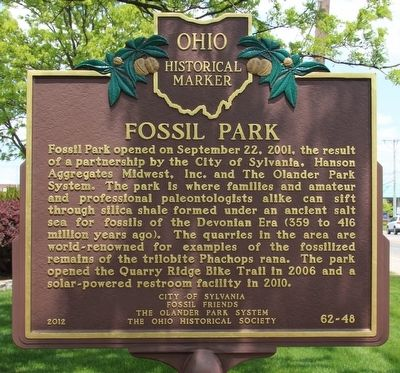 Centennial Terrace and Quarry / Fossil Park Marker image. Click for full size.