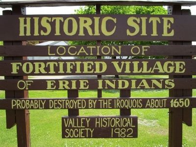 Fortified Village of Erie Indians Marker image. Click for full size.