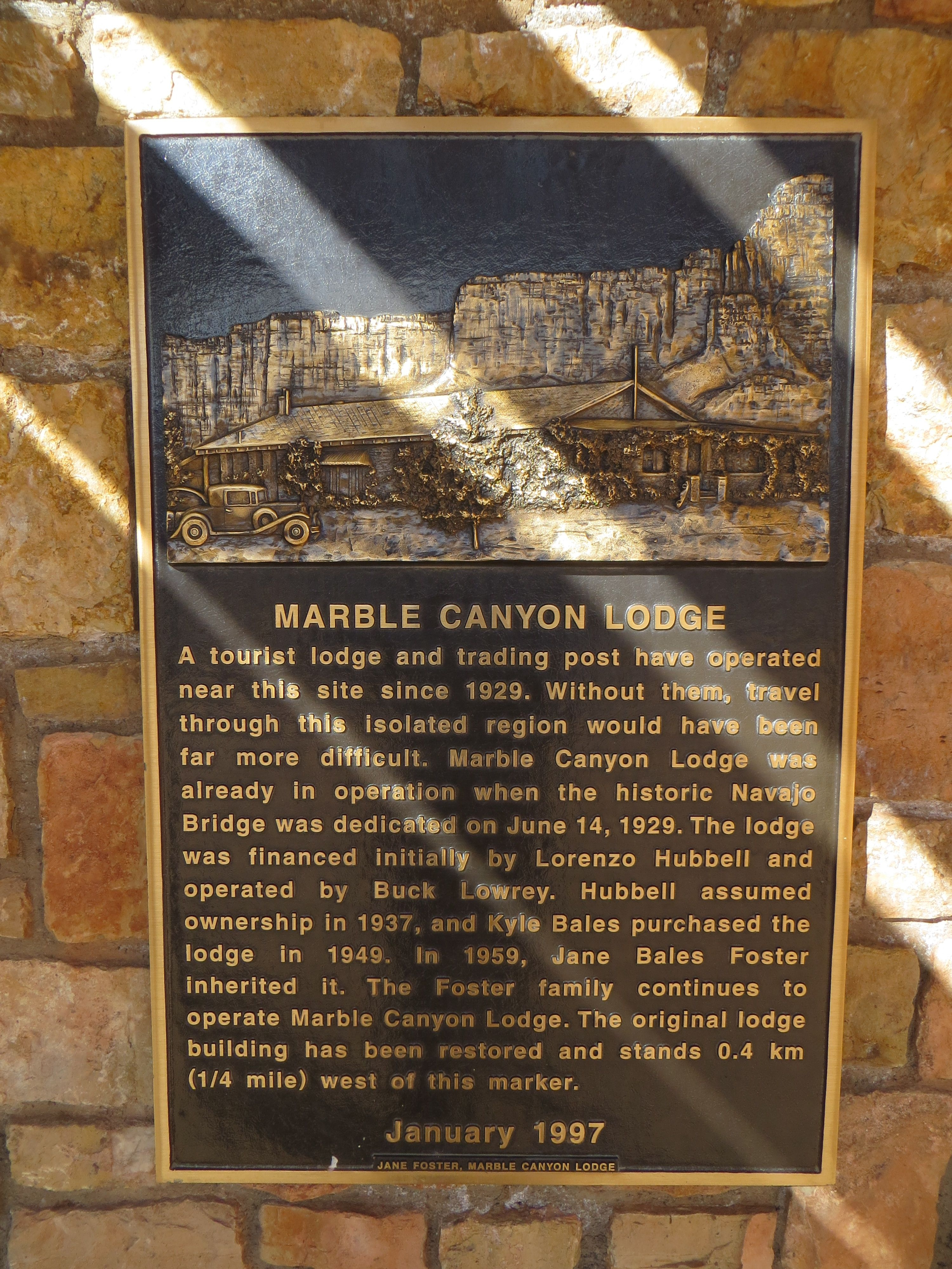 Marble Canyon Lodge Marker