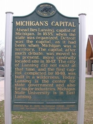 Michigan's Capital Marker image. Click for full size.