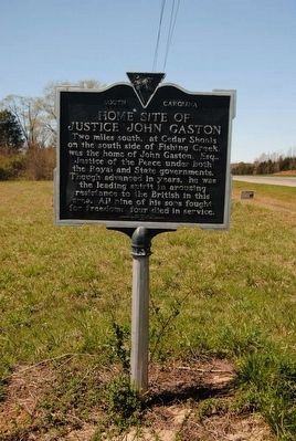 Home Site of Justice John Gaston Marker image. Click for full size.