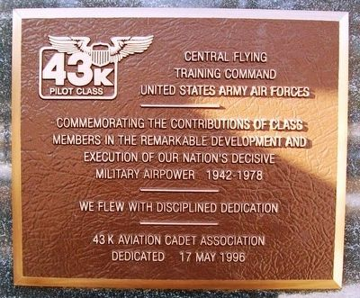 Aviation Cadet Pilot Training Class 43K Marker image. Click for full size.