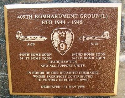 409th Bombardment Group (L) Marker image. Click for full size.