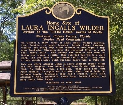 Home Site of Laura Ingalls Wilder Marker (Side 1) image. Click for full size.