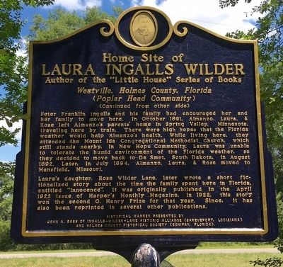 Home Site of Laura Ingalls Wilder Marker (Side 2) image. Click for full size.