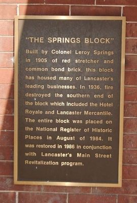 The Springs Block Marker image. Click for full size.