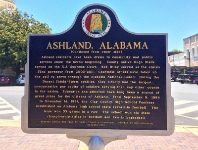 Ashland, Alabama Marker (Side 2) image, Touch for more information