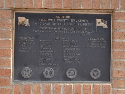 Stonewall County Servicemen Honor Roll image. Click for full size.