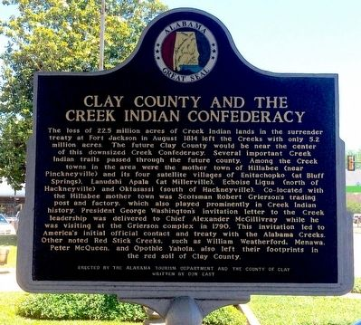 Clay County and the Creek Indian Confederacy Marker image. Click for full size.