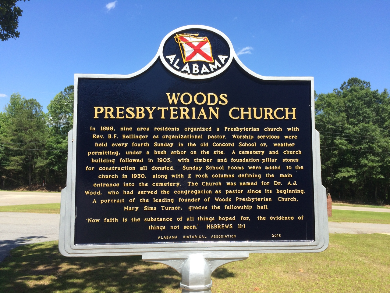 Woods Presbyterian Church Marker