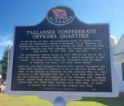 Tallassee Confederate Officers Quarters Marker (Side 2) image. Click for full size.