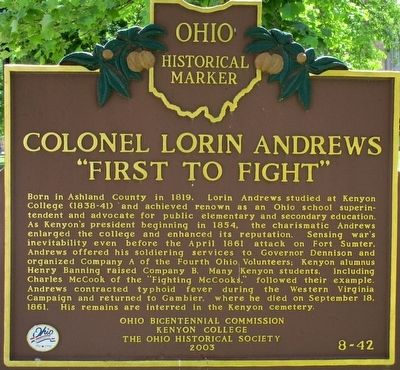 Colonel Lorin Andrews Marker image. Click for full size.