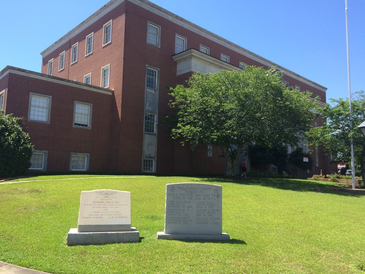 Alabama Mills WWII Memorial in front of Tallapoosa County Courthouse.