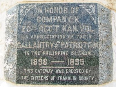 Company K, 20th Regiment Kansas Volunteers Marker image. Click for full size.
