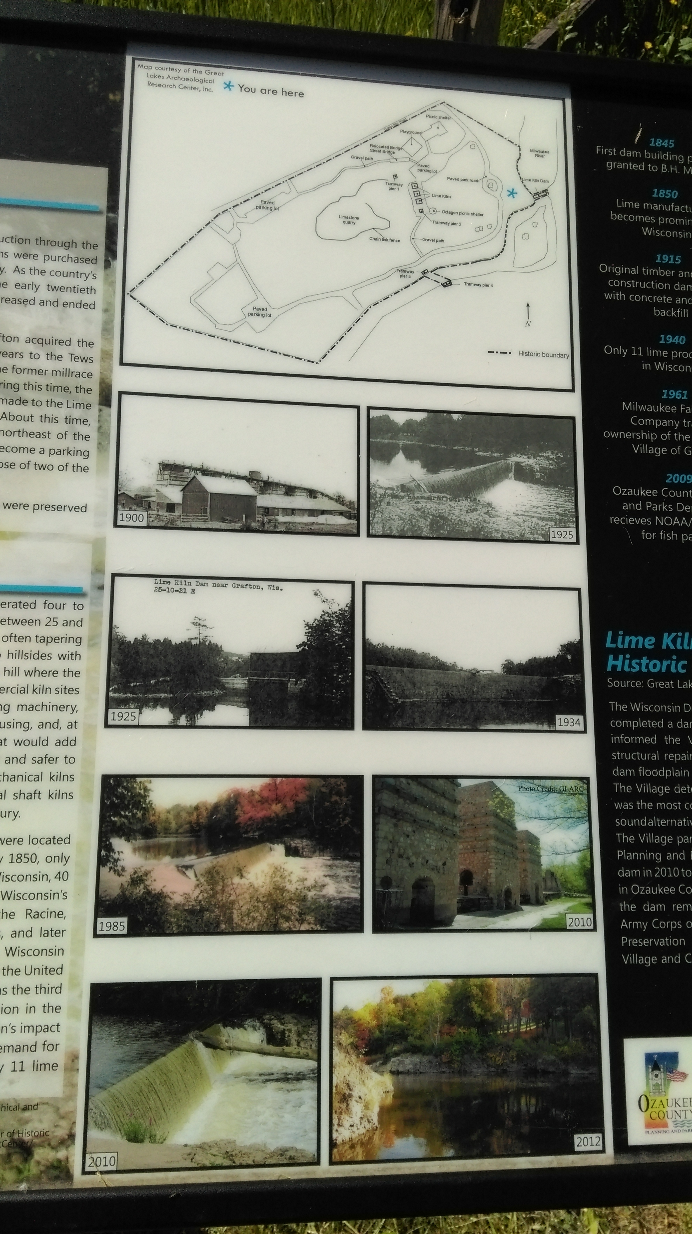 Lime Kiln Dam Marker Photos