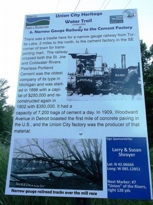 Narrow Gauge Railway to the Cement Factory Marker image. Click for full size.