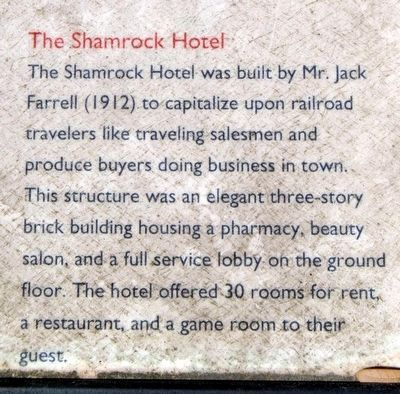 Blackville Marker<br>The Shamrock Hotel image. Click for full size.