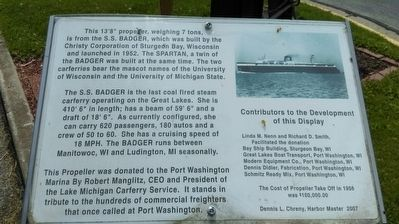 Propeller from the S.S. Badger Marker image. Click for full size.