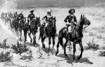 Marching in the Desert with the Buffalo Soldiers by Frederic Remington image. Click for full size.