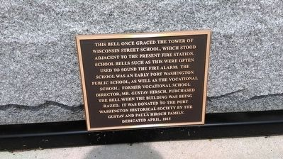 Wisconsin Street School Bell Marker image. Click for full size.