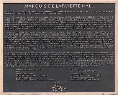 Marquis de Lafayette Hall Marker image. Click for full size.