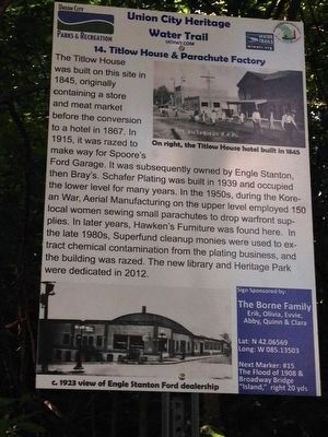 Titlow House & Parachute Factory Marker image. Click for full size.