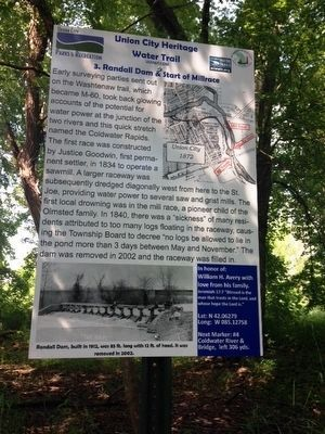 Randall Dam & Start of Millrace Marker image. Click for full size.