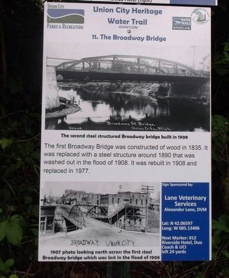The Broadway Bridge Marker image. Click for full size.