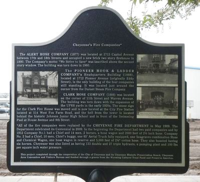 Cheyenne's Early Fire Companies Marker image. Click for full size.