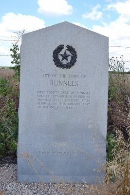 Site of the Town of Runnels Marker image. Click for full size.