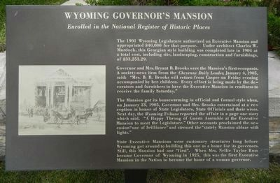 Wyoming Governor's Mansion Marker image. Click for full size.