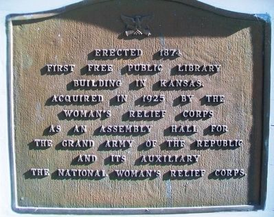 First Free Public Library Building in Kansas Marker image. Click for full size.