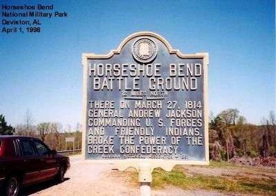 Horseshoe Bend Battle Ground marker-12 miles south of NMP image. Click for full size.